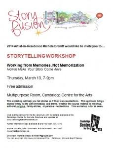 Storyfusion March 13 workshop